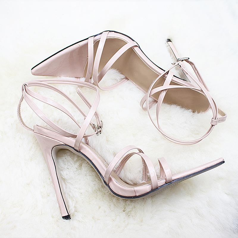 Designer Dress Shoes Cross Bandage High Heels Sandals Women Pumps Thin Heel Lace-Up Summer Fashion pompes de femme Open Toe Dress Sandals