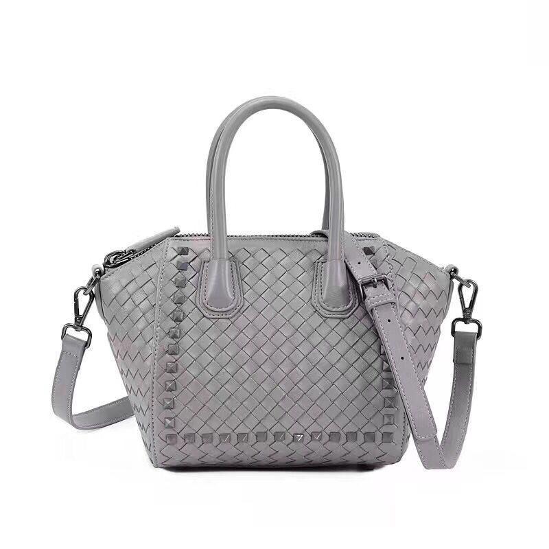 Elegant2019 Woman Leather Genuine Bag Handbag Single Shoulder Envelope Small Sheepskin Weave Portable Oblique Satchel