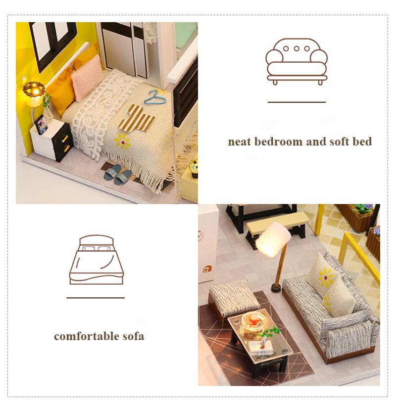 3D DIY Miniature Dollhouse Loft Building Model Wooden Handmade Dollhouses Assemble Kits Doll House with Furnitures Toys (8)