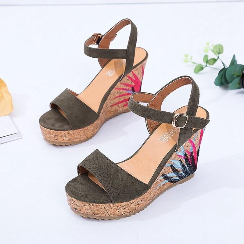 COOTELILI High Heels Women Summer Shoes Women Sandals Summer Shoes Women Open Toe Embroidery Beach Sandals 35-39 (4)