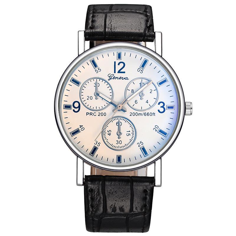 Geneva Watch Geneva False Three Eye Double-deck Dough Bring Woman Surface Blue Light Wrist Watch Cheap Gift Wrist Watch