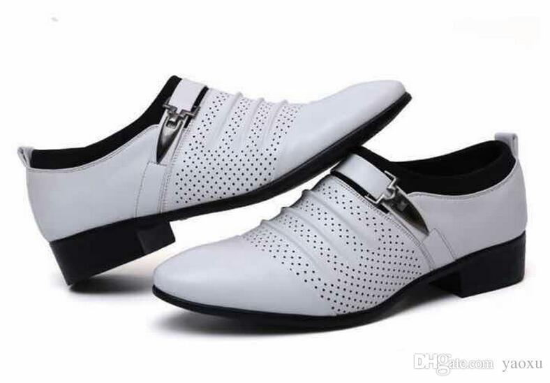 Lucky2019 Man Pointed Toe Business Formal Shoes Breathable Male Foot Wrapping White Shoe Flats 3nx25