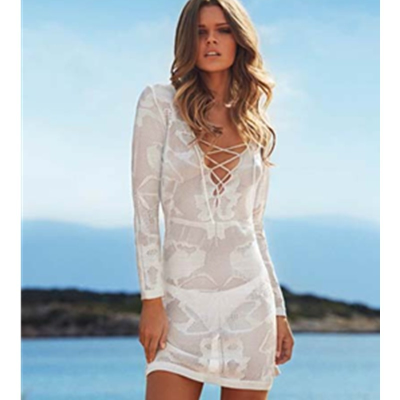 White Long Sleeve Lace Cross Front Knitted Swimsuit Cover Up Tunic Beachwear Women Causal Beach Tunic L38208(1) 800x800