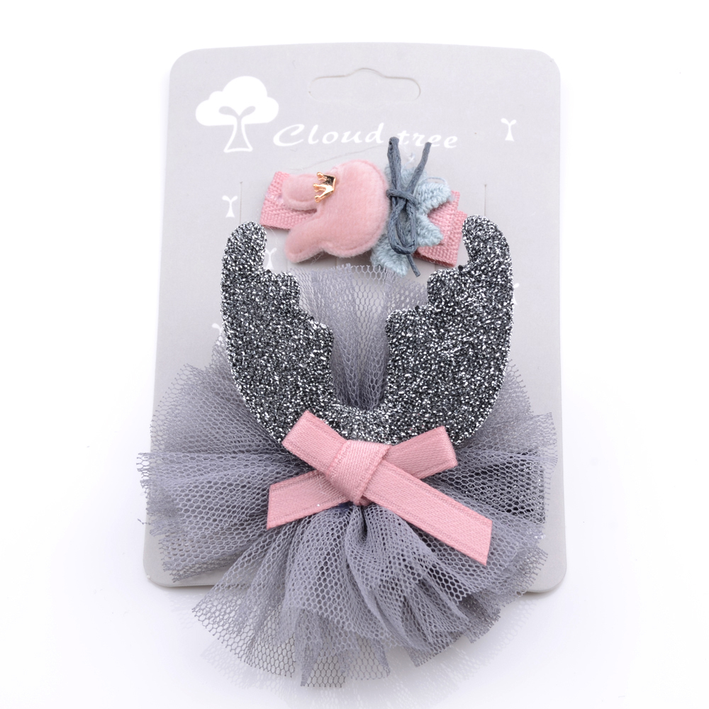 High Quality Cotton Girls Headwear Set Handmade Lace Crown Bow Hairpins Princess Hair Clips Children Hair Accessories