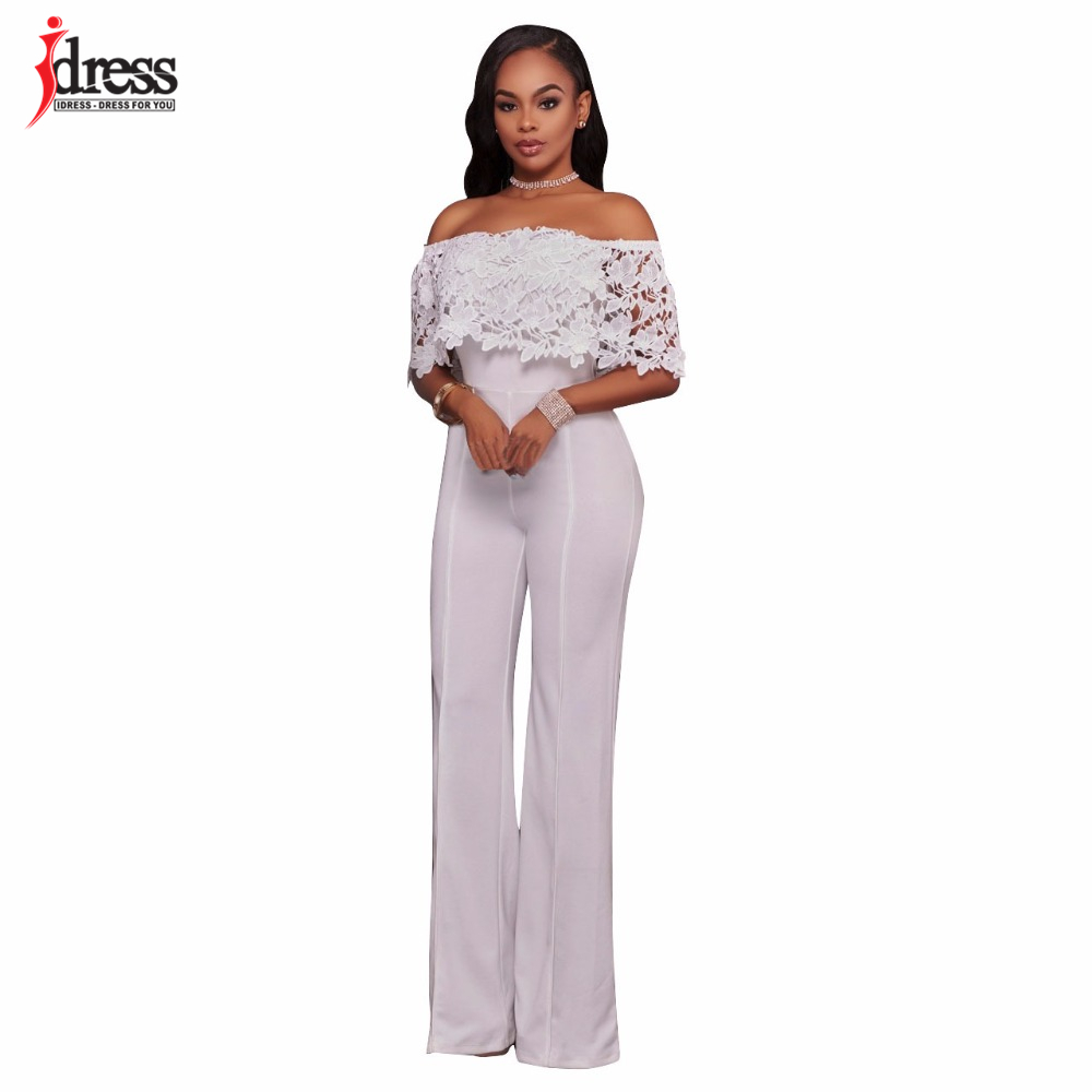 IDress Lace Crochet Rompers Women Jumpsuit Sexy Strapless Bodycon Jumpsuit Wide Leg Black White Yellow Long Pant Romper Overalls (3)