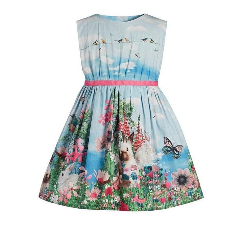 Retail 2019 New Arrival Summer girl dress Sleeveless rabbit pattern tutu dresses for girls baby girl boutique clothing