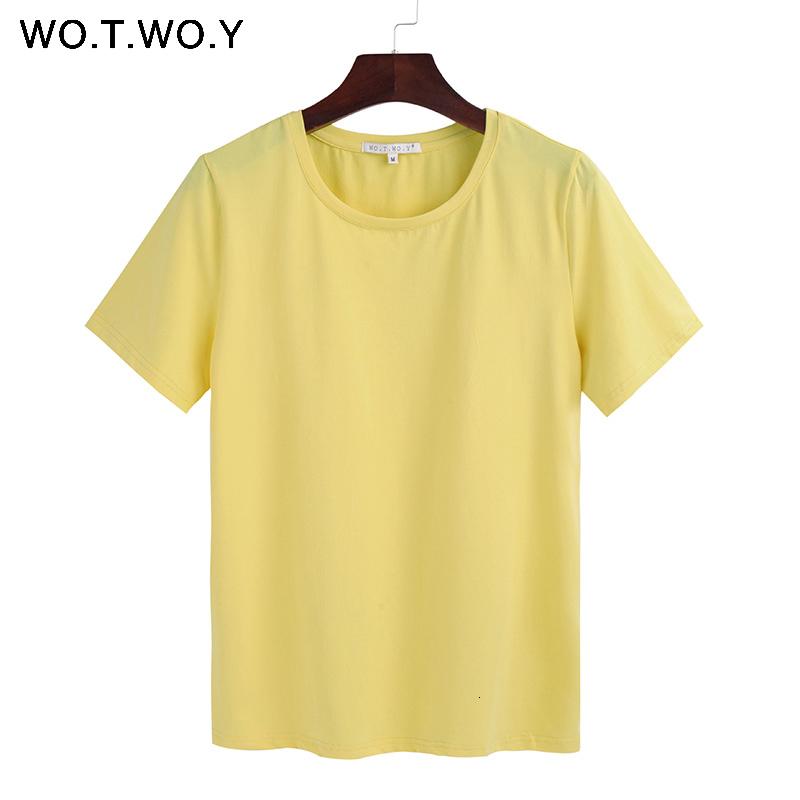 2018 Summer Cotton T Shirt Women Loose Style Solid Tee Shirt Female Short Sleeve Top Tees O-Neck T-shirt Women