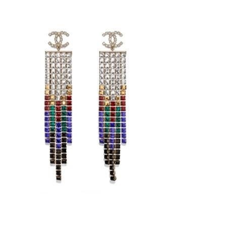 earrings for women brass plated 18K gold original material 2019 new to embellish your beautiful color stitching