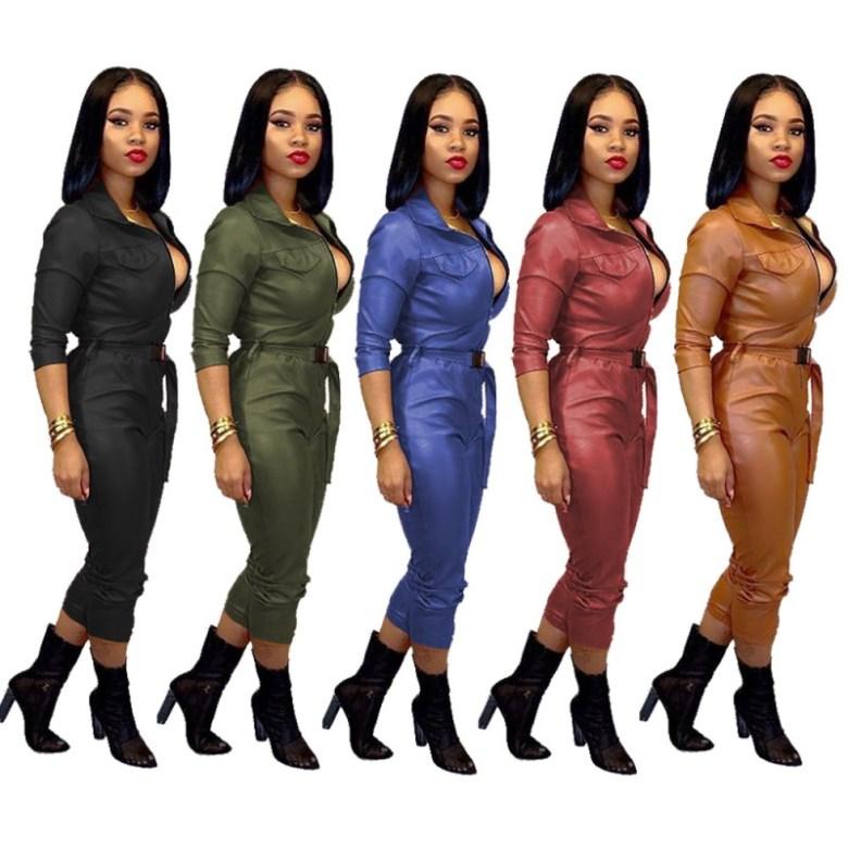 Womens Faux Leather Jumpsuit Romper Short Sleeve Playsuit Clubwear Trouser Pants