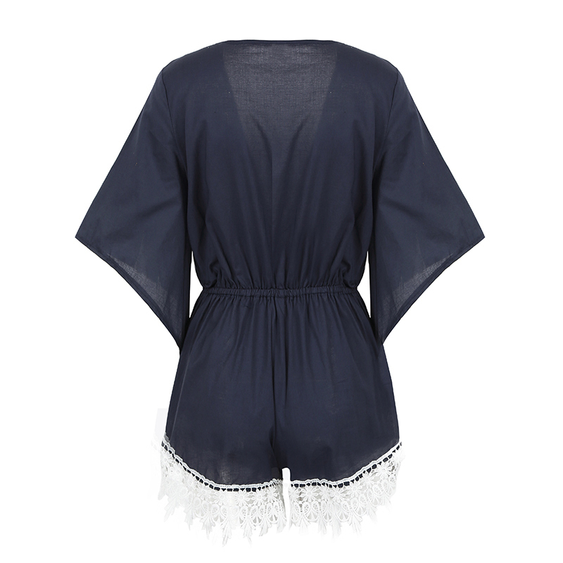 Women 5XL Plus Size Playsuit Contrast Floral Crochet Lace Summer Rompers Plunge V Neck Bell Sleeve Elastic Waist Sexy Jumpsuit
