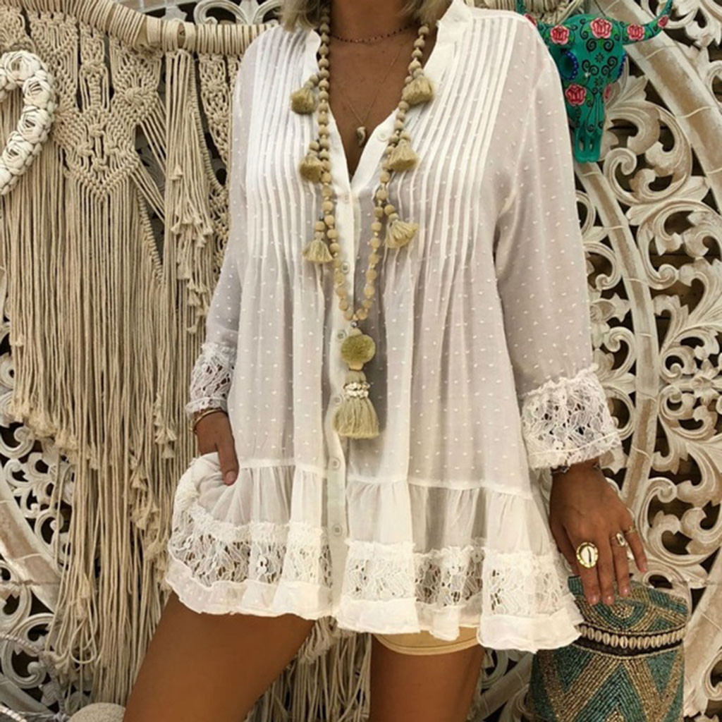 2015 Women Lace Boho Beach Dress Lady Casual bell sleeve Hippie Long Tops blouse