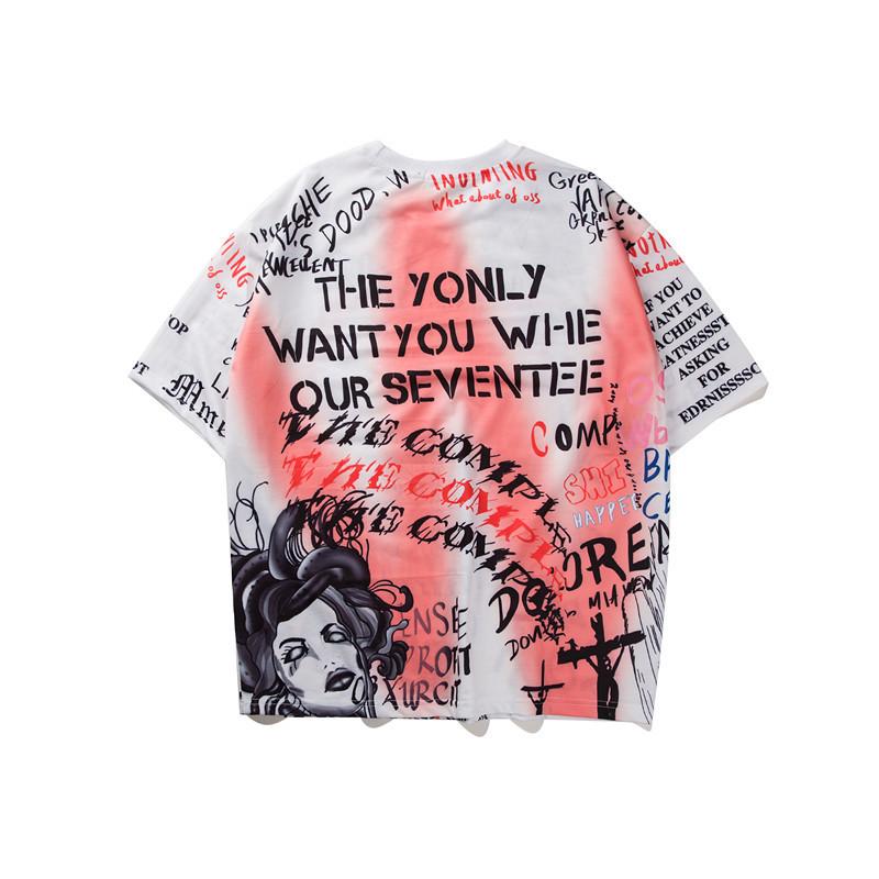 2019 Erkekler Pamuk Baskı T-shirt Hip Hop T Shirt Harajuku Japon Karikatür Tshirt Streetwear Yaz Anime Tee Tops C190416