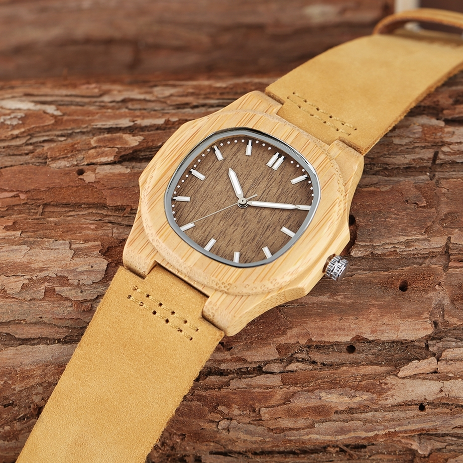 2017 New arrivals Wood Watch Natural Light Wooden Face Fashion Genuine Leather Bangle Unisex Gifts for Men Women Reloj de madera Christmas Gifts (11)