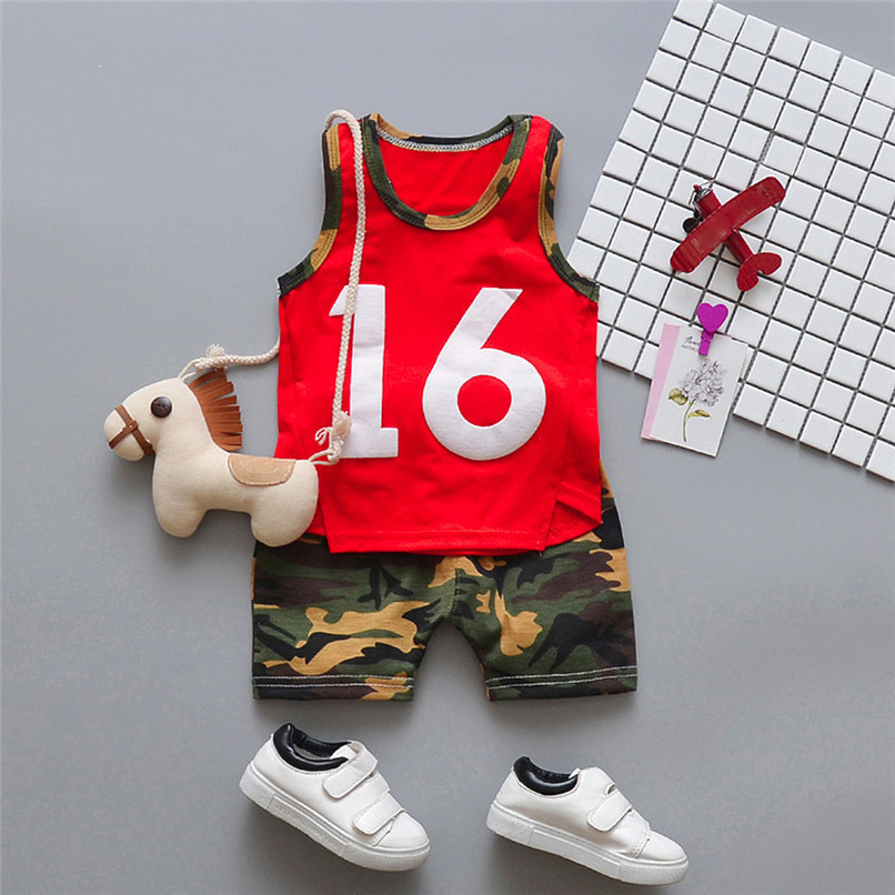 2PCS Summer Baby Sets Boy Toddler Baby Boy Sleeveless T-shirt Vest Tops+Camouflage Shorts Pants Sets Baby Boy Clothes M8Y24 (3)