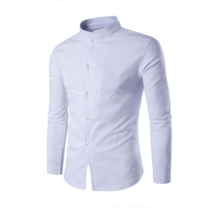 Helisopus Chinese Traditional Male Tang Suit Men's Long Sleeve Linen Shirt Solid Color Mandarin Collar Casual Shirt Y190415