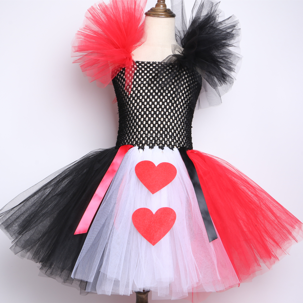 Red Black White Queen Of Heart Tutu Dress Alice In Wonderland Fancy Party Costumes For Girls Kids Halloween Birthday Dress 2-12y Y19061501