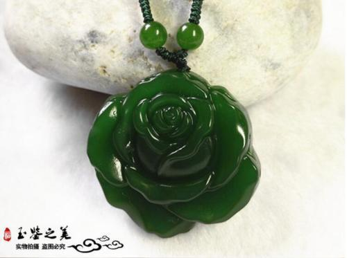 Natural Green Hand-carved Chinese Hetian Jade Peony Shape Pendant Necklace Sweater Chain Jewelry Gift Wholesale