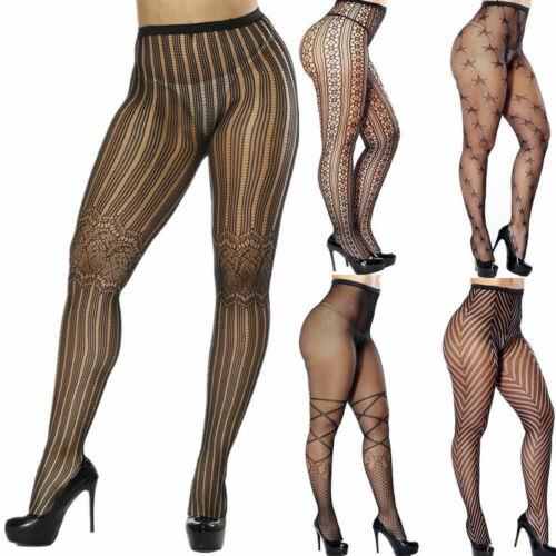 Le donne Donna Nero Mesh Rete Netto Modello Collant Collant Calze Sock