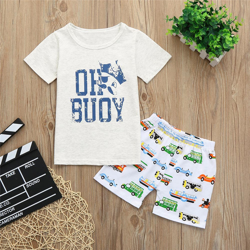 2PCS Baby Sets Toddler Kids Baby Boy Girl Short Sleeve Letter T-shirt Top+Cartoon Car Short Pants Set Baby Clothes M8Y21#F (2)