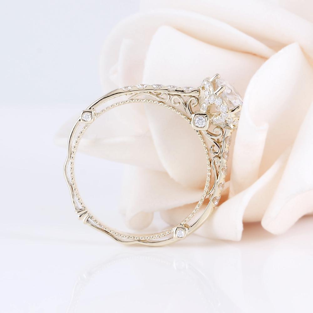 moissanite engagement ring 14k yellow gold 2019 vintage ring (4)