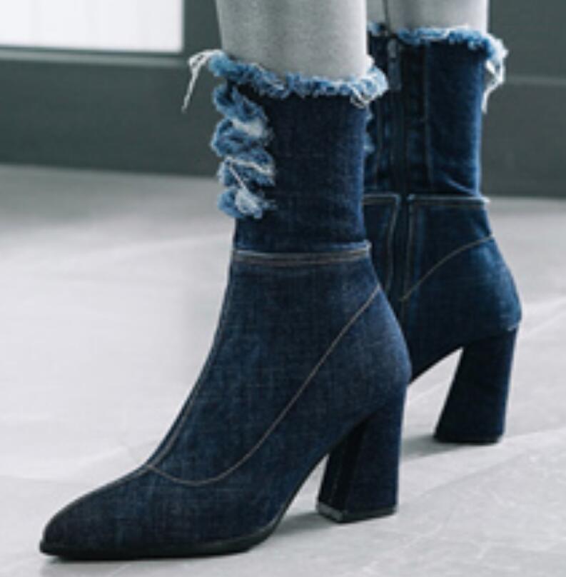 Charm2019 Bayanlar Shoes Kadın Ayakkabı Zapatos Sapato Orta buzağı Çizmeler Tıknaz Yüksek Topuklu Denim Jean Patik Sivri Burun XZ180243