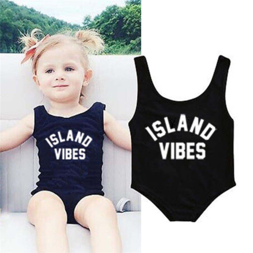 Swimwear for Girls Toddler Infant Kids Baby Girls Letter Printed One Pieces Sleeveless Vest Swimwear Beach Swimsuit Clothes JE22 (3)