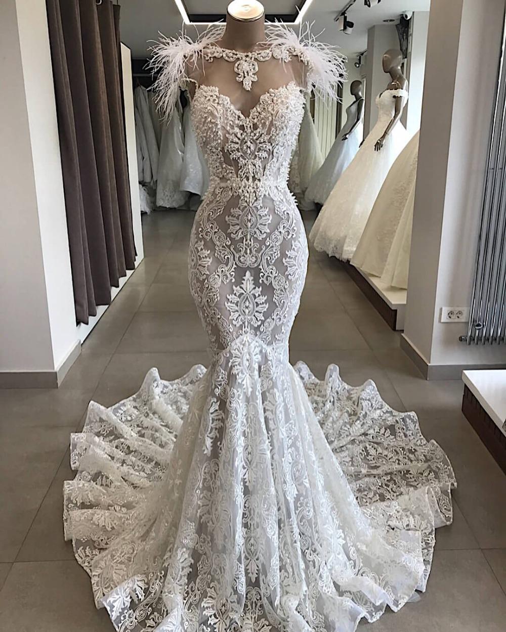 Sexy volle Spitze Perlen Mermaid Brautkleid mit Federn Vintgae wulstige  durchschauen Mantel Bohemian Strand Brautkleid Plus Size
