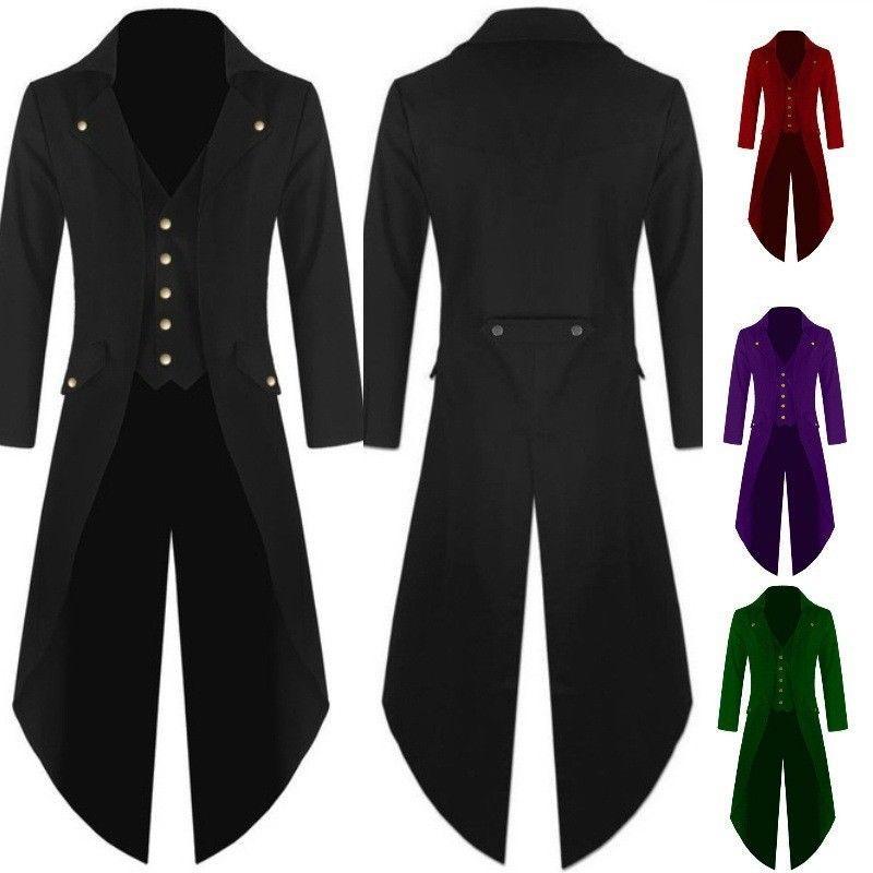 S-4XL Men Retro Steampunk Swallow-Tailed Coat Gothic Tailcoat Jacket Ringmaster