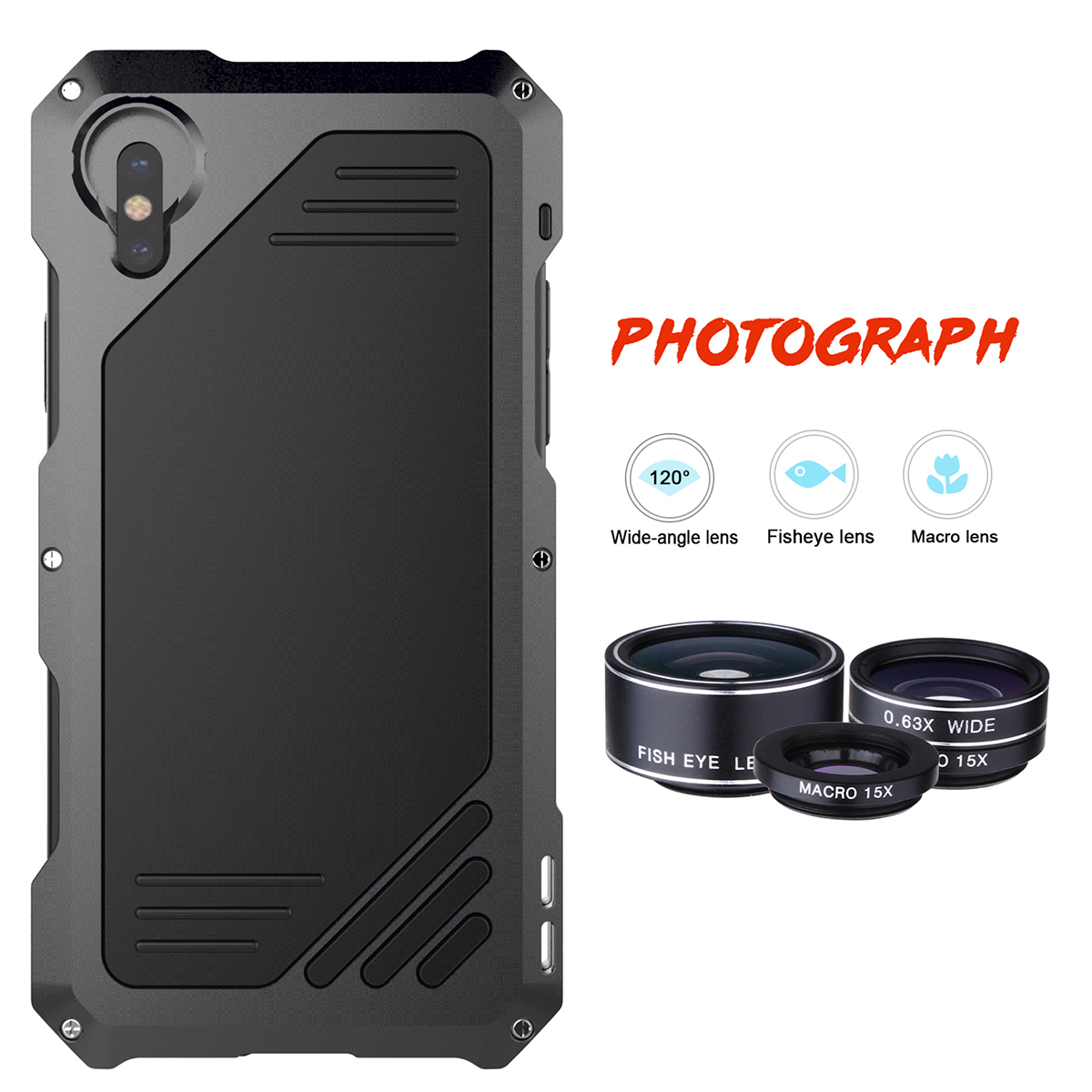 Metal Waterproof Case for iPhone X XS XR XSMAX Shockproof Aluminium Alloy Bumper for iPhone X with Macro Wide-angle Fisheye Lens
