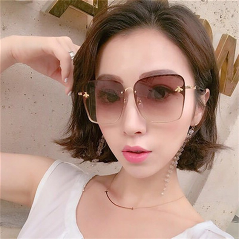 ASOUZ 2019 new box ladies sunglasses UV400 metal large frame small bee sunglasses classic brand design sports driving sunglasses (13)