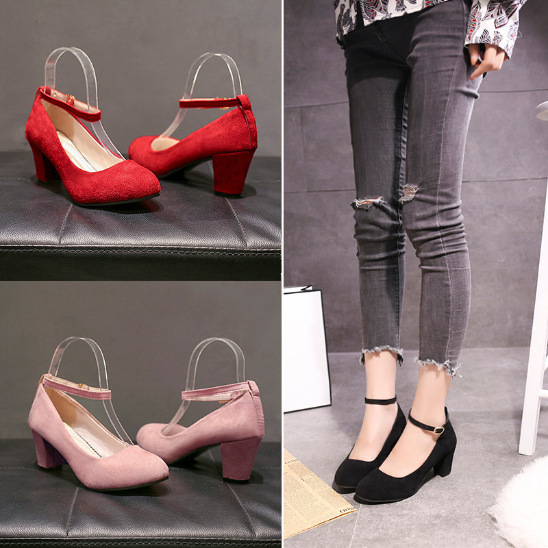 Dress Shoes Women's High Heels Pumps Office Lady Women Sexy Wedding Bride Party Thick Heel Round Toe Leather High Heel