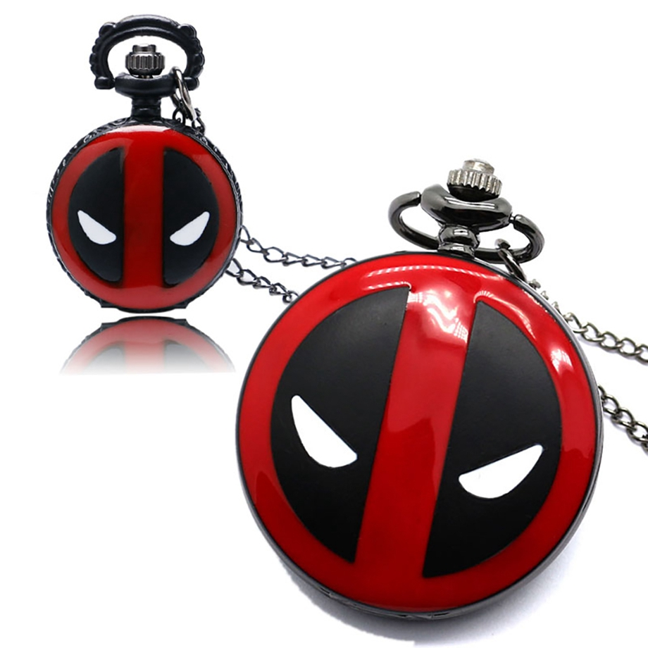 Pocket Watch Quartz American Comic Badass Deadpool Theme Men Women Necklace Chain Fob Watches Clock Pendant Christmas Gifts