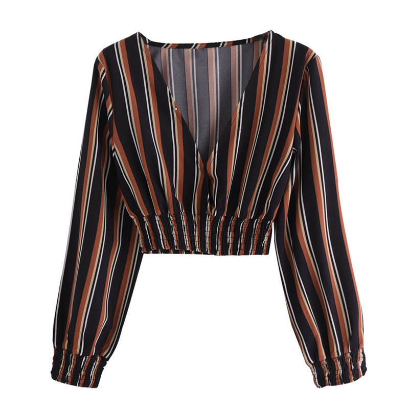 Fashion womens tops and blouses summer Autumn V Neck Long Sleeve Striped Blouse Tops Clothes Shirt camicette Y30#N (1)