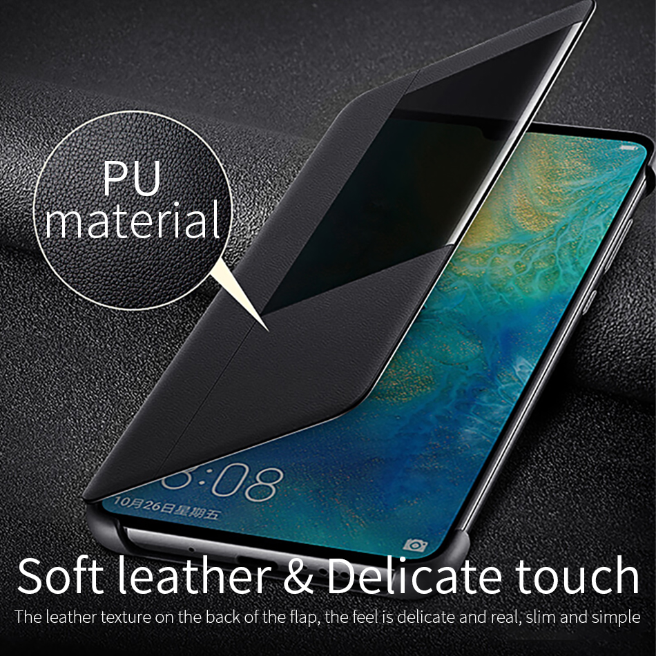 8Huawei mate 20 Flip Case Cover Official Huawei Mate 20 Pro case Smart View Window Luxury PU Leather Protective Wake up mate20
