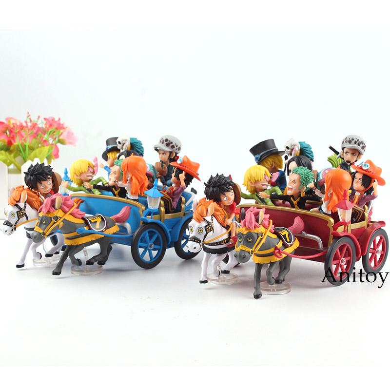 Anime One Piece 20th Anniversary Carriage Set Luffy Nami Zoro Sanji Chopper Ace Sabo Trafalgar Law Hancock PVC Figure Toys