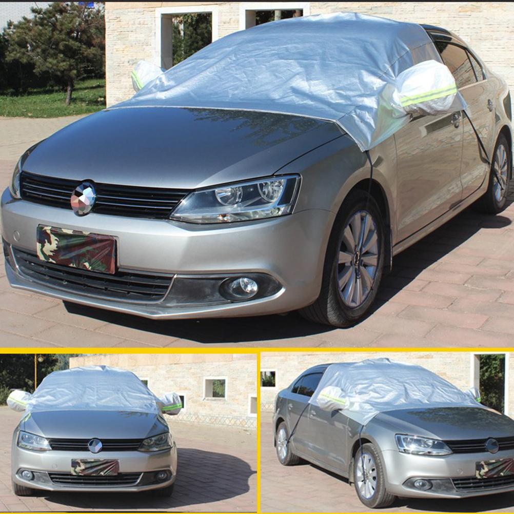220 x 140 cm Winddicht wasserdicht Auto Sonnenschutzabdeckung Schnee Eisabdeckung mit Rückspiegel Protector für Auto und SUV