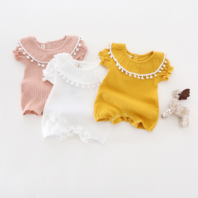 Cute Newborn Baby Girl Romper 2017 Summer short sleeve Princess fur ball Sunsuit One Pieces Tassel Clothes free drop shipping (21)