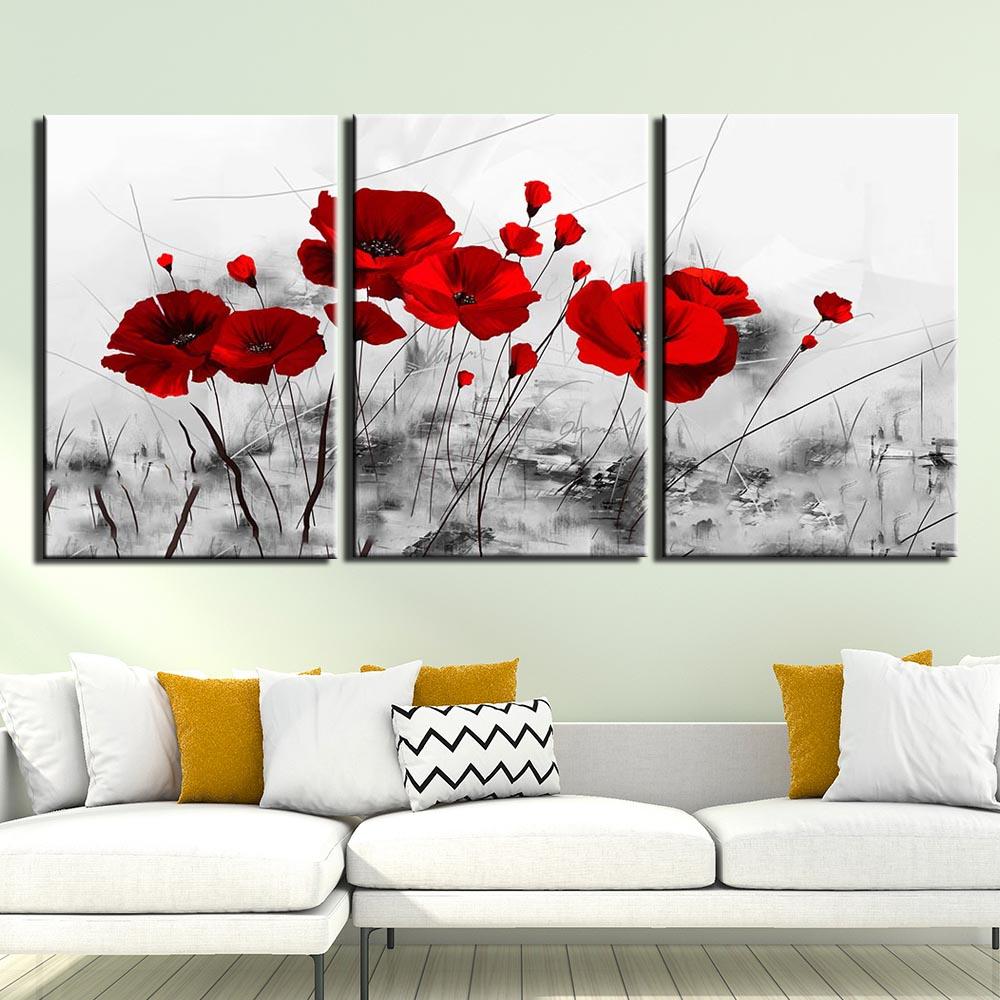 Salon Rouge Blanc Noir wall art canvas peinture 3 pcs copies et affiches décoration d'intérieur  oeuvre d'art noir blanc fleur rouge mur photos de salon