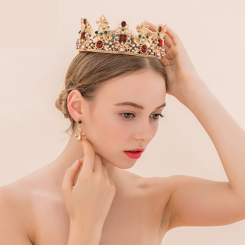king-queen-baroque-crown-and-earrings-red-rhinestone-bride-tiaras-women-wedding-gold-crowns-bridal-hair