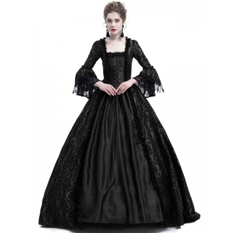 Vintage Lace Costume Medieval Maxi Dress Gothic Flare Sleeve Palace Princess Long Dresses Retro Ball Gown Vestidos