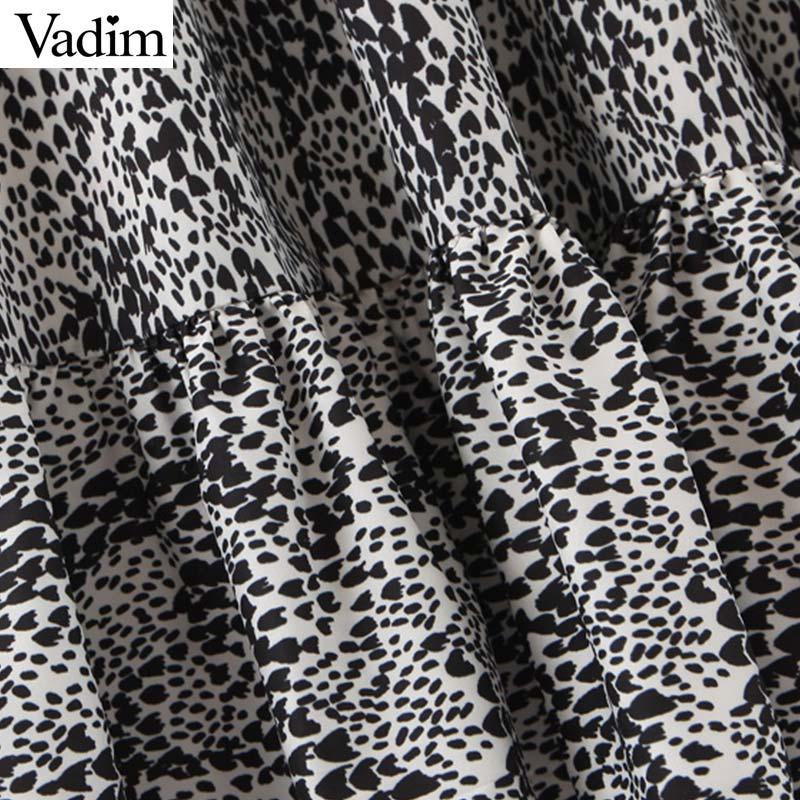 femmes gros motif robe midi imprimé léopard vintage animaux manches longues col O femme casaul robes élégantes Vestidos QC853