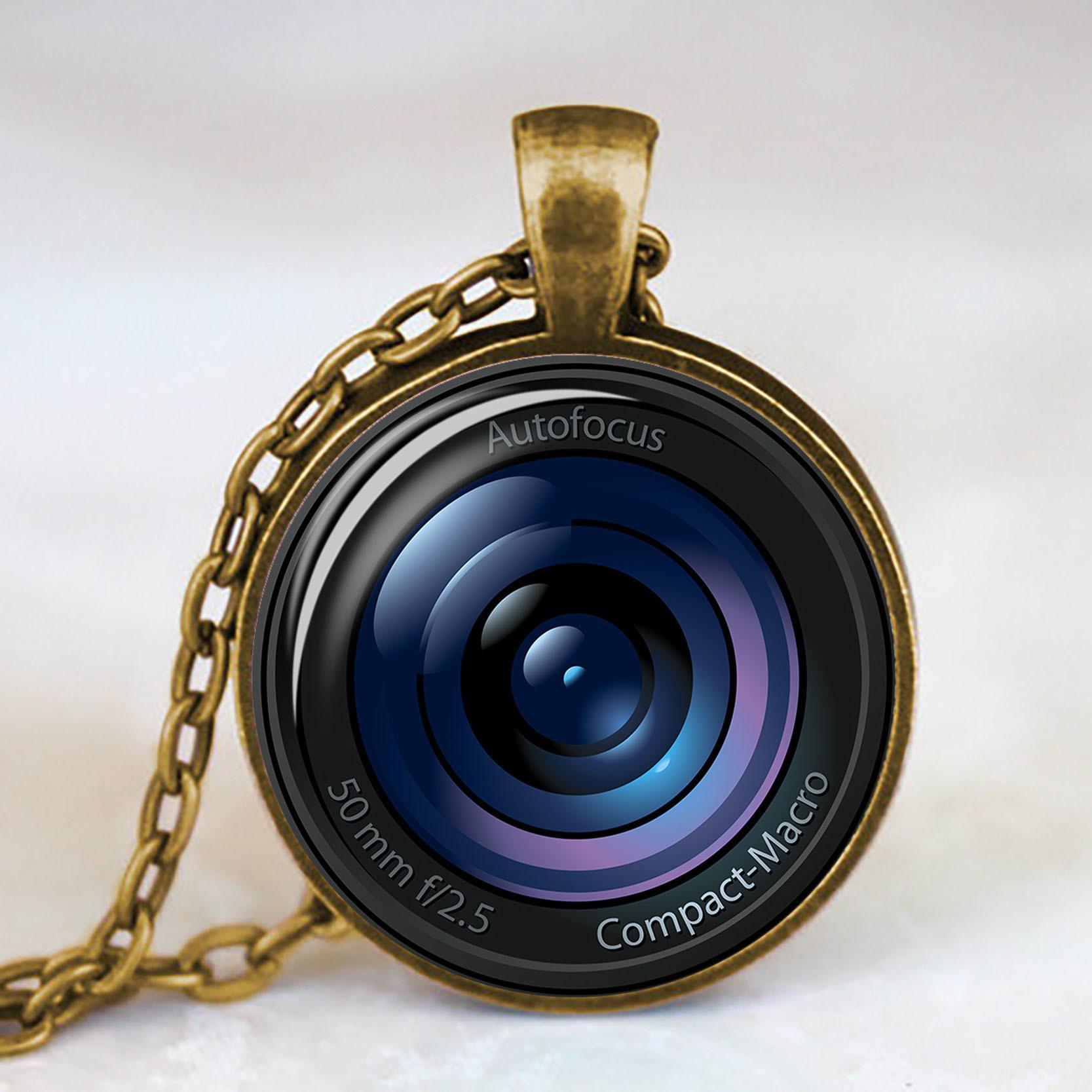 카메라 렌즈 유리 펜던트 목걸이 사진 선물 카메라 펜던트 사진 선물 유리 카보 숑 초커 목걸이 보석