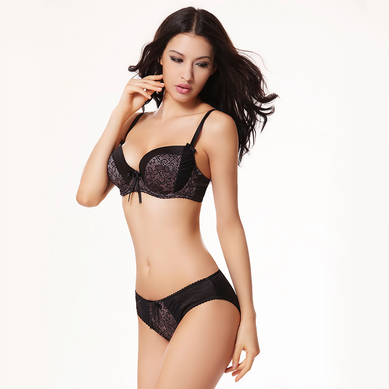 wholesale Sexy Floral Lace 3/4 Cup Push Up Bowknot Women Bra Brief Sets Brassiere Seamless Soft Underwear Female Lingerie Set