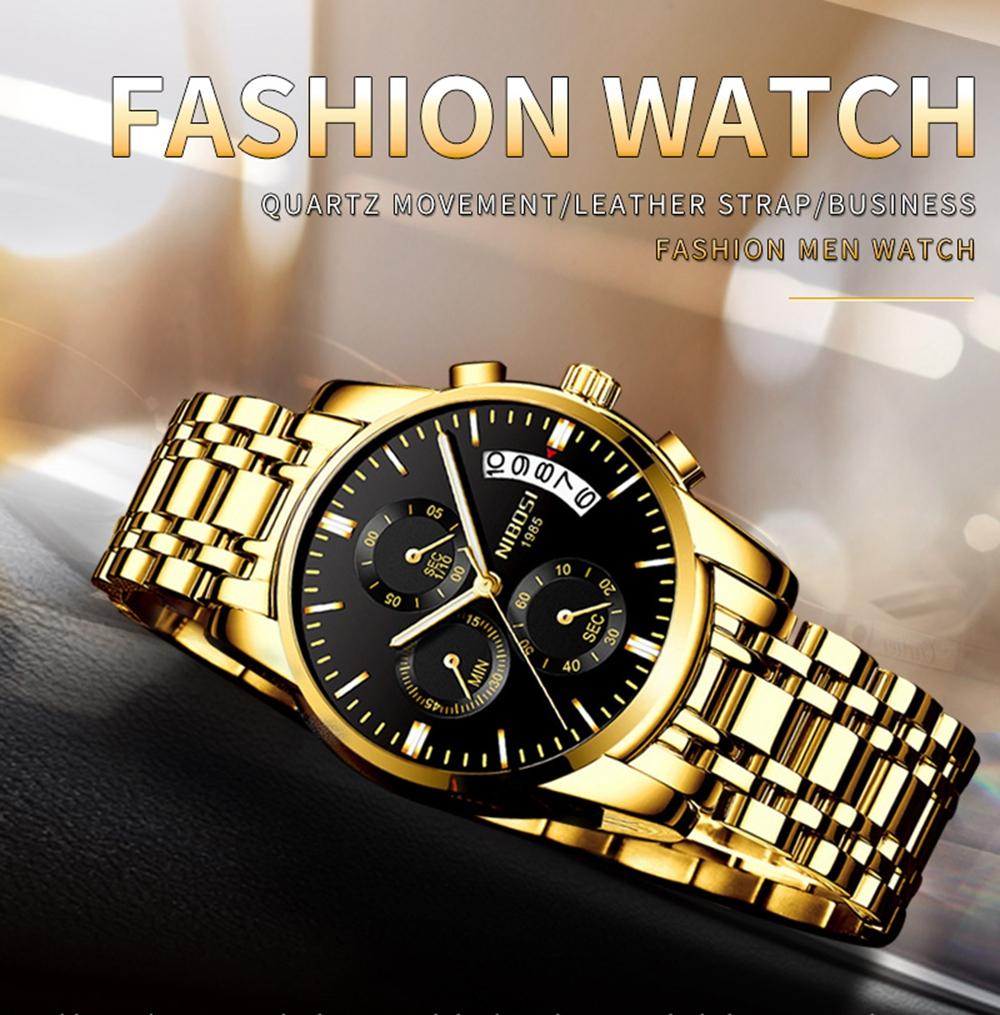 NIBOSI Mens Watches Top Brand Luxury Premium Luxury Fashion Luminous Waterproof Watch High-end Calfskin Pure Steel Strap Blue (1)