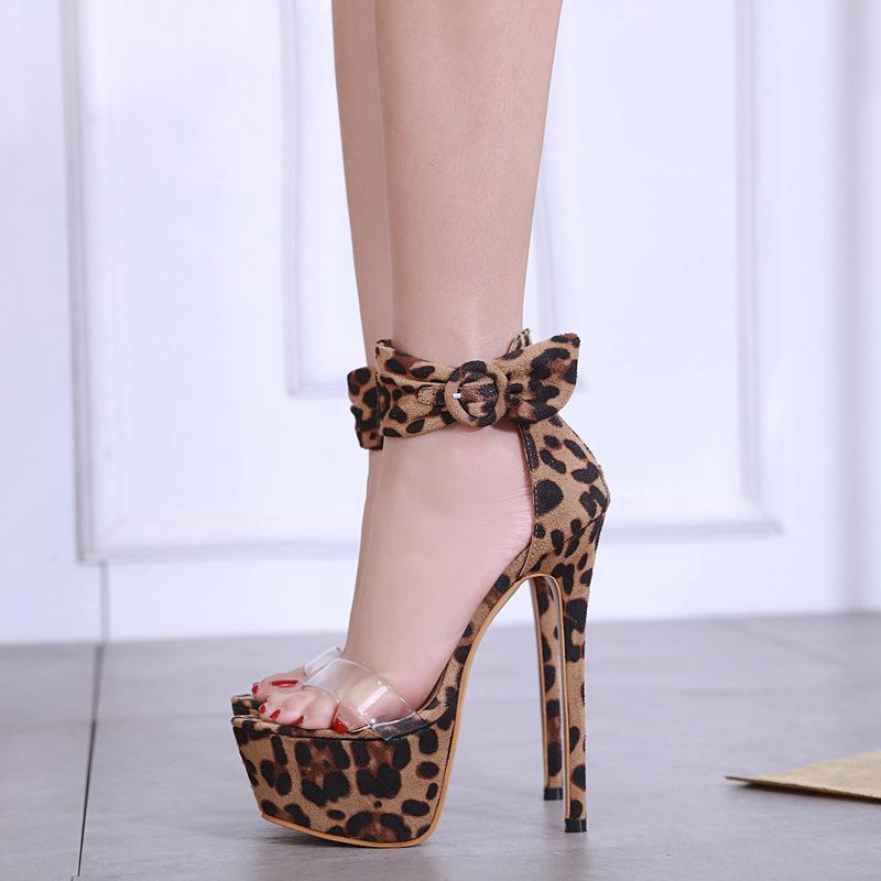 Goddess2019 Waterproof Toe All-match Platform Split Joint Buckle Bring Fine With Grace Sexy Leopard Print Ma'am Sandals