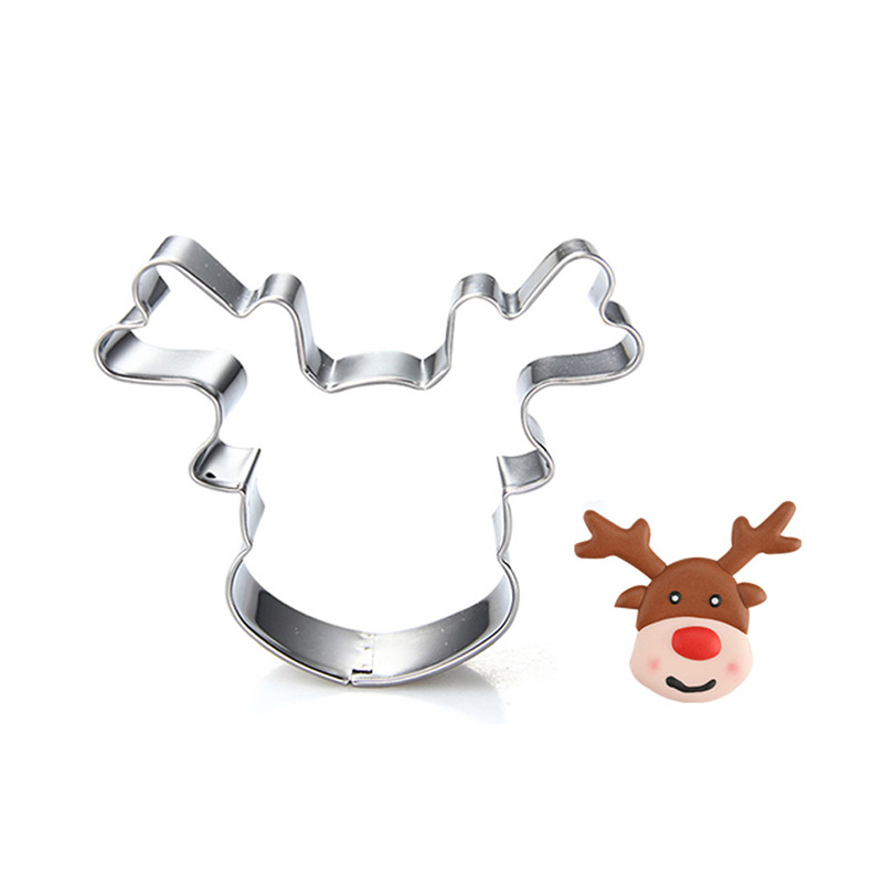 Stainless Steel Cookie Cutter Biscuit Mold Christmas Deer Head Reindeer Mould BC