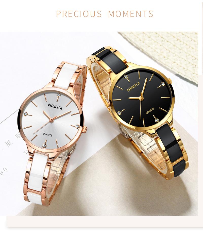 Relojes Para Mujer NIBOSI Women Watches Bracelet Watch Ladies Wrist Watch Women Waterproof Fashion Casual Crystal Dial Rose Gold (3)