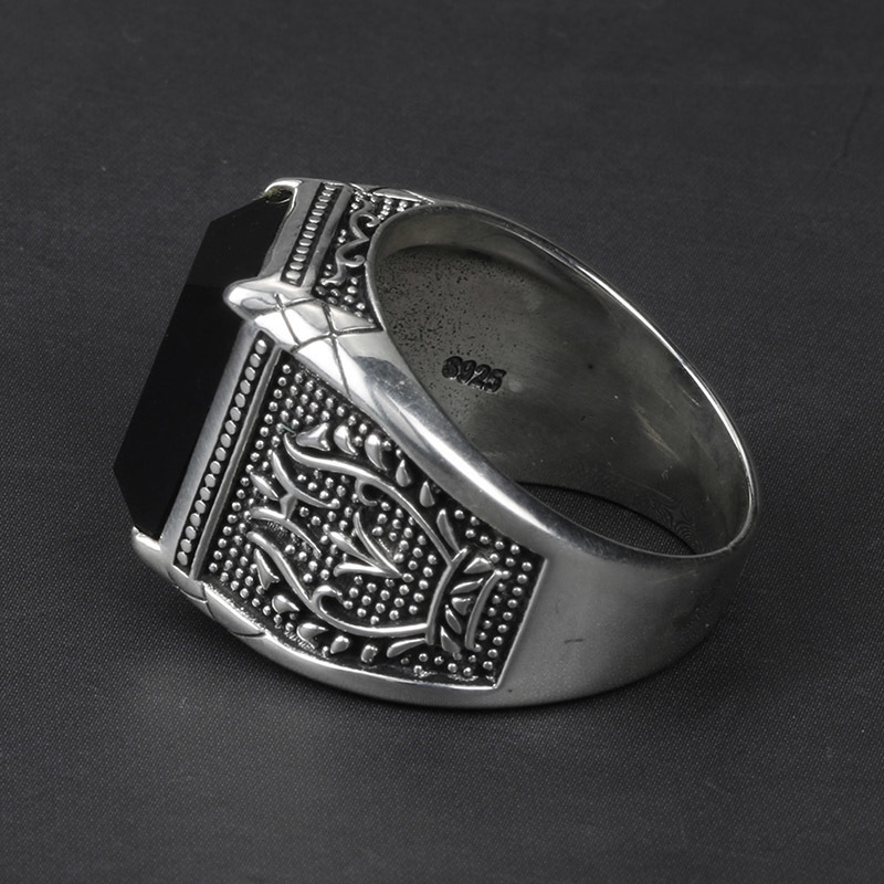 Vintage Ring Men Real Pure 925 Sterling Silver Jewelry Black Obsidian Natural Stone Rings For Mens Punk Rock Fashion Y19062004