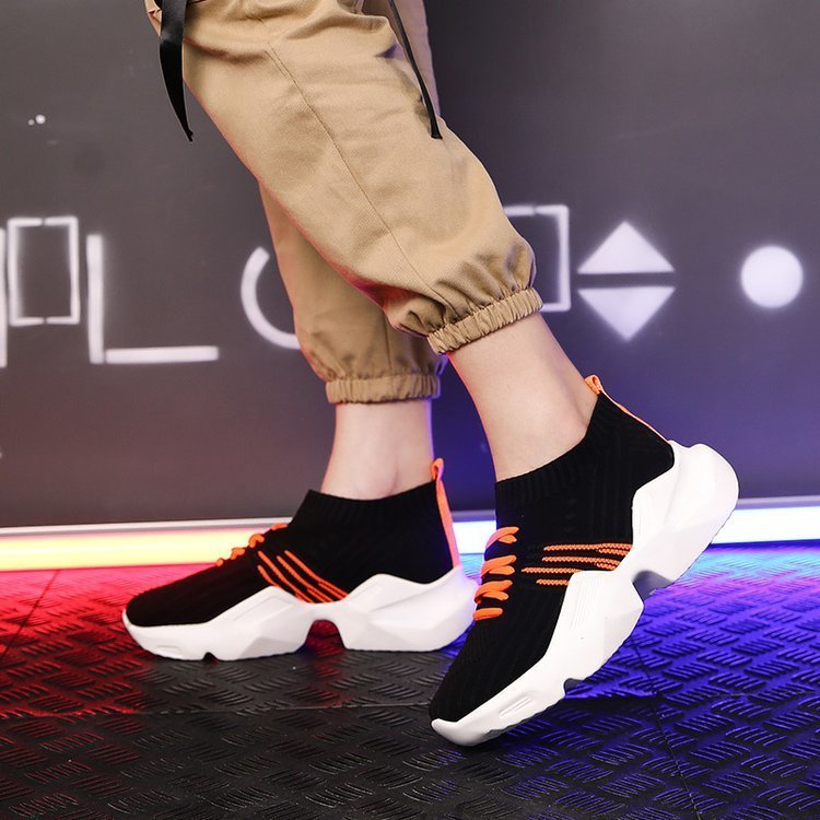 1New Fashion Chunky Sneakers Women Casual Thick Bottom Sock Shoes Weave Women Trainers Platform Shoes Women Zapatillas Mujer
