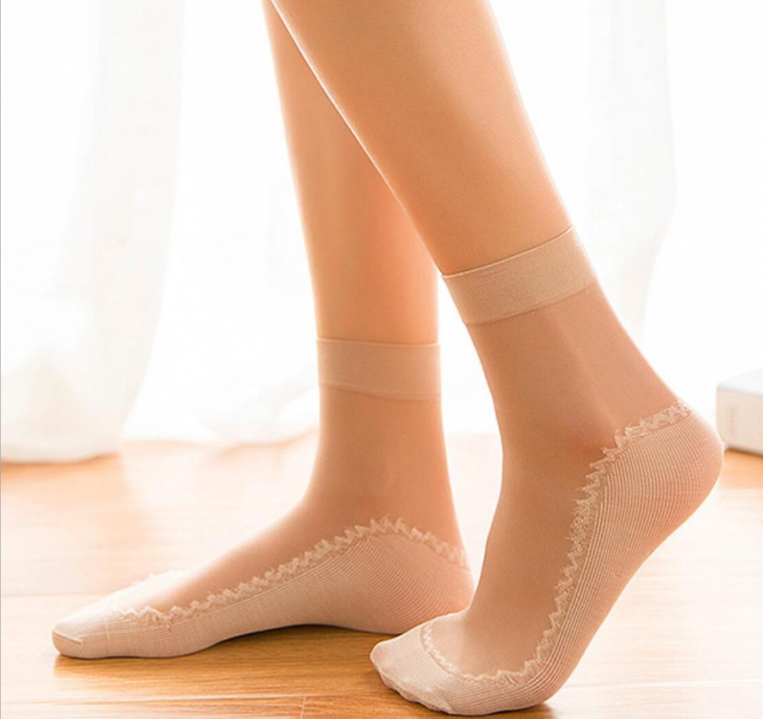 Summer Lace Ruffle Women Socks Transparent Stretch Shiny Thin Ankle Mesh Socks